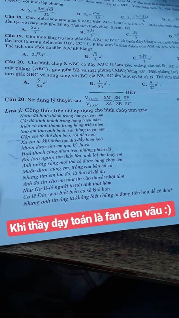 Thầy giáo bắt trend cực mạnh, in lời bài hát của Đen Vâu vào đề thi cho học sinh... xả stress! - Ảnh 1.