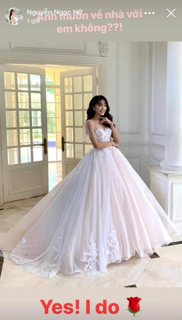 Bạn gái tin đồn của Phan Văn Đức diện váy cưới, thả thính siêu ngọt ngào: Anh muốn về nhà với em không? - Ảnh 1.