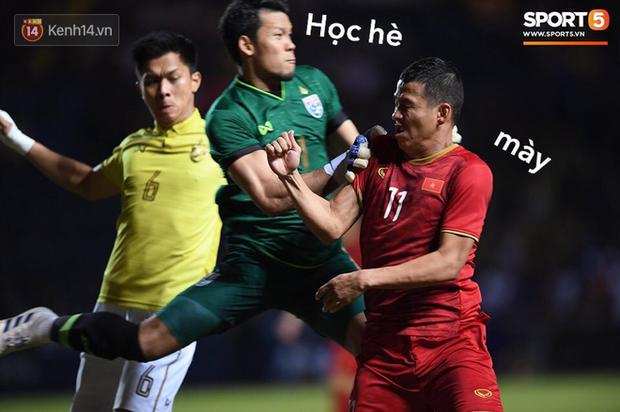 Loạt ảnh chế màn tranh chấp căng thẳng giữa các cầu thủ Việt Nam và Thái Lan: Tưởng không đau mà đau không tưởng - Ảnh 3.