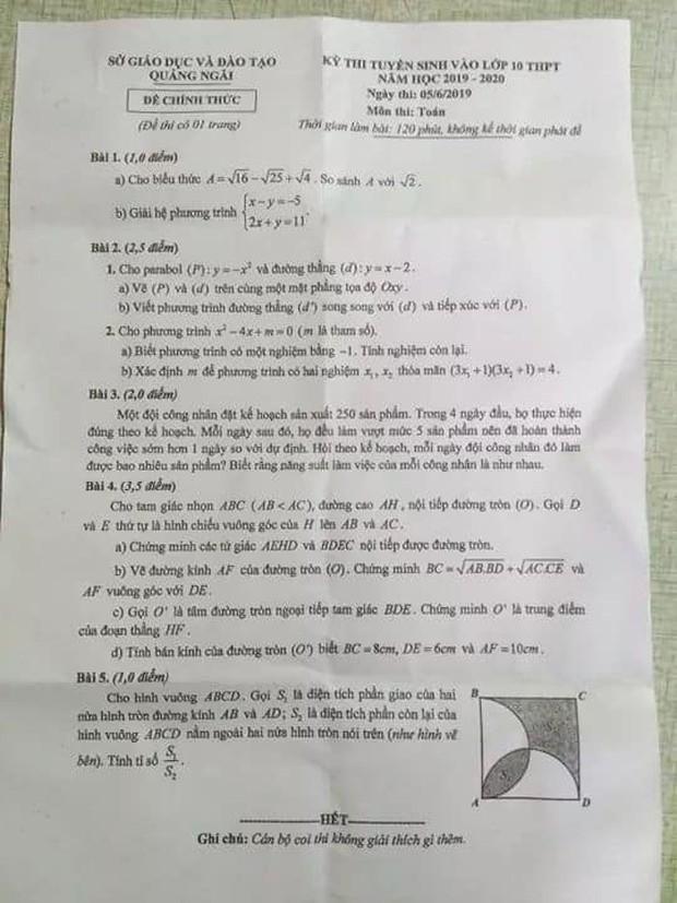Học sinh phản ánh đề thi Toán vào lớp 10 Quảng Ngãi có 2 câu 5 điểm giống hệt đề thi thử một trường trước đó - Ảnh 2.