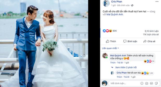 HOT: YouTuber đình đám Cris Phan đăng ảnh cưới, chuẩn bị kết hôn với hotgirl Mai Quỳnh Anh vào tháng 6 - Ảnh 1.