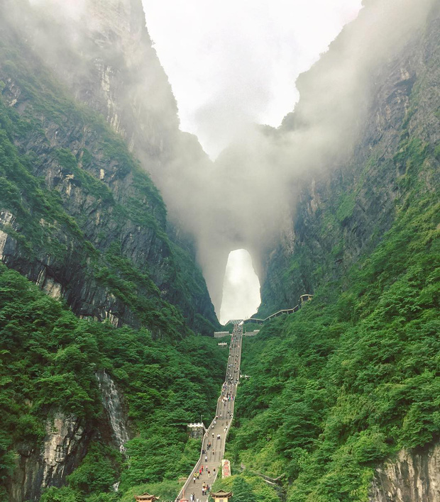 Thiên Môn Sơn - Đường lên cổng trời ở Trung Quốc khiến hội yếu tim phải khóc thét với 99 khúc cua dựng đứng - Ảnh 2.