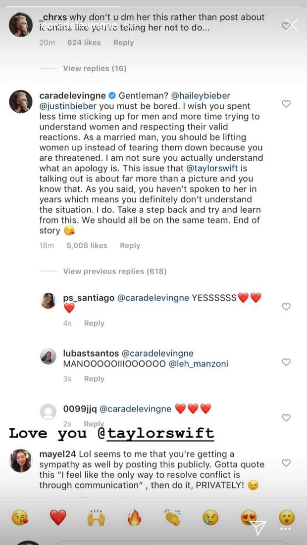 Xoá bình luận Cara Delevingne bảo vệ Taylor Swift, cả Cara lẫn cộng đồng mạng quyết spam lại để vợ chồng Justin Bieber đọc cho rõ - Ảnh 6.