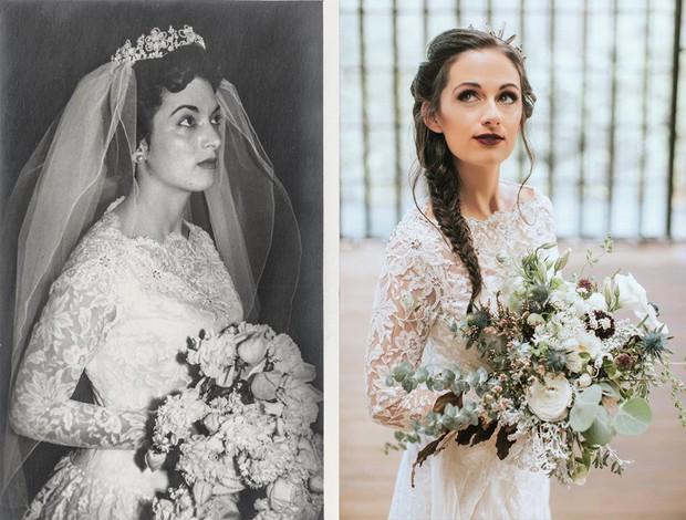 Cứ tưởng đồ cũ là đồ bỏ đi, nhưng cô gái này đã mặc lại váy cưới của bà mình mà vẫn vô cùng xinh đẹp và hợp thời - Ảnh 1.