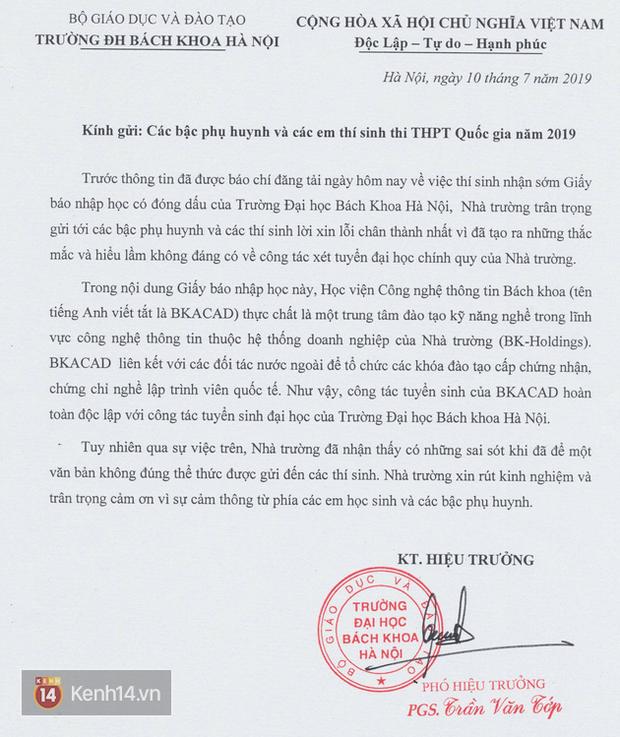 ĐH Bách khoa Hà Nội lên tiếng xin lỗi thí sinh và phụ huynh vì giấy báo nhập học giả, gây hiểu nhầm - Ảnh 1.