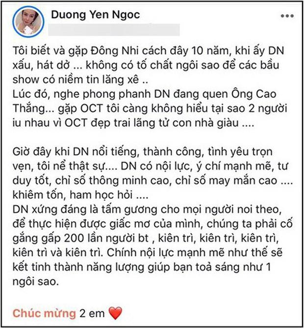 Biến showbiz: Dương Yến Ngọc bị chỉ trích khi chúc phúc Đông Nhi vẫn không quên nhắc quá khứ đàn em vừa xấu vừa hát dở - Ảnh 1.