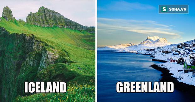 Chuyện ngược đời: Tại sao Iceland lại toàn màu xanh, Greenland lại ngập tràn màu trắng? - Ảnh 1.