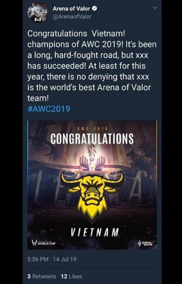 Liên Quân Mobile: Chấn động, Tencent tuyên bố VN vô địch AWC khi Chung kết chưa kết thúc - Ảnh 3.