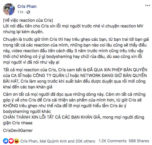 Cris Phan xin lỗi, giải thích việc body shaming mẫu nữ trong MV của Sơn Tùng M-TP: Mình hay trêu ghẹo các bạn, chứ không có ý gì - Ảnh 3.