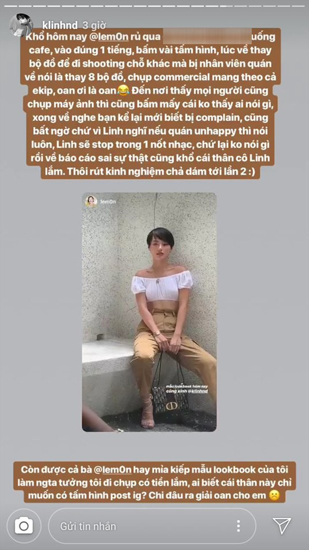 Chụp con ảnh sống ảo đăng Instagram khi đi cafe, Khánh Linh bất ngờ bị đổ oan thay 8 bộ đồ như chụp lookbook, chủ quán đi phàn nàn sau lưng - Ảnh 1.
