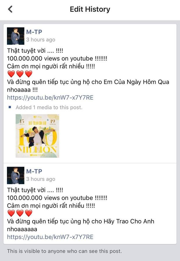 MV Hãy Trao Cho Anh đạt mốc 100 triệu views, Sơn Tùng M-TP vui quá viết caption chúc mừng... Em Của Ngày Hôm Qua - Ảnh 2.