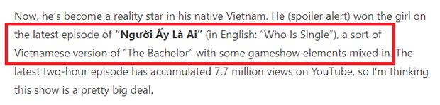 Chuyện tình Quân Hồ - Mai Sương lên hẳn báo nước ngoài, Người ấy là ai được gọi là The Bachelor phiên bản Việt - Ảnh 3.