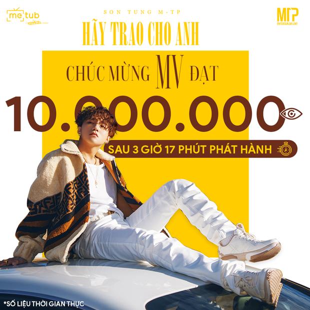 """Với MV """"Hãy Trao Cho Anh"""", Sơn Tùng M-TP phá kỉ lục 10 triệu view của chính mình trong thời gian bao lâu? - Ảnh 1."""