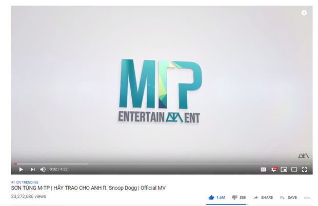 Sơn Tùng M-TP trở thành nghệ sĩ solo có lượt xem MV sau 24h đầu đứng thứ 2 khu vực châu Á, chỉ xếp sau PSY - Ảnh 1.