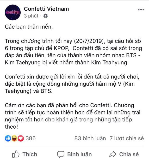 Viết sai tên thành viên BTS, Confetti phải gửi lời xin lỗi đến các fan - Ảnh 3.