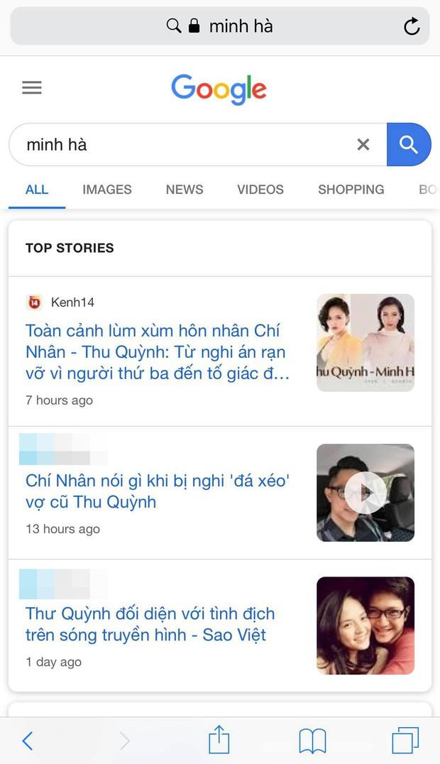 Hậu lùm xùm hôn nhân Google trả kết quả: Thu Quỳnh là diễn viên, Chí Nhân là chồng cũ Thu Quỳnh còn Minh Hà là nobody - Ảnh 4.