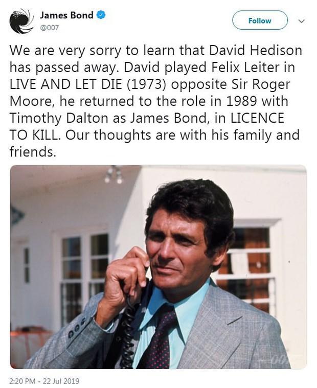 Nam diễn viên xuất hiện trong 2 phần phim Điệp viên 007 - David Hedison đã qua đời ở tuổi 92 - Ảnh 1.