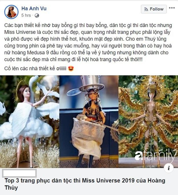"""Hà Anh chê Top 3 quốc phục của Hoàng Thùy tại Miss Universe: """"Chỉ mang đi lễ hội hóa trang quốc tế thôi"""" - Ảnh 1."""