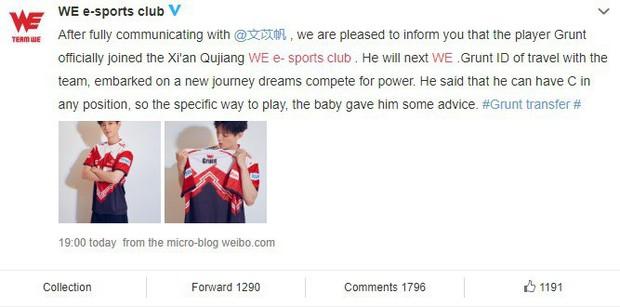 Nam thần hack tuổi Grunt (Cá Mực Hầm Mật) chính thức gia nhập Team WE, tham dự giải Esports lớn nhất Trung Quốc - Ảnh 1.