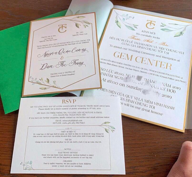 Lộ thiệp cưới và thông tin chính thức về hôn lễ của Cường Đô La và Đàm Thu Trang trong tháng 7 - Ảnh 2.