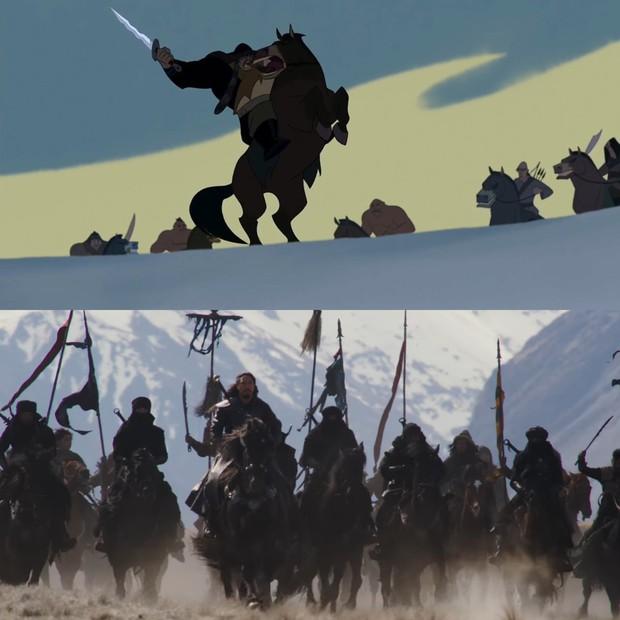 Mulan của Lưu Diệc Phi với bản gốc hoạt hình: Giống nhau đến từng khung ảnh! - Ảnh 13.