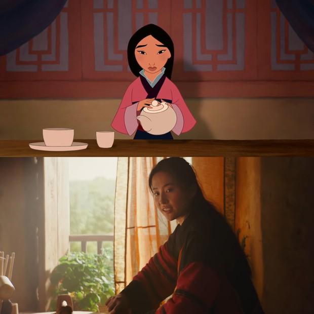 Mulan của Lưu Diệc Phi với bản gốc hoạt hình: Giống nhau đến từng khung ảnh! - Ảnh 2.