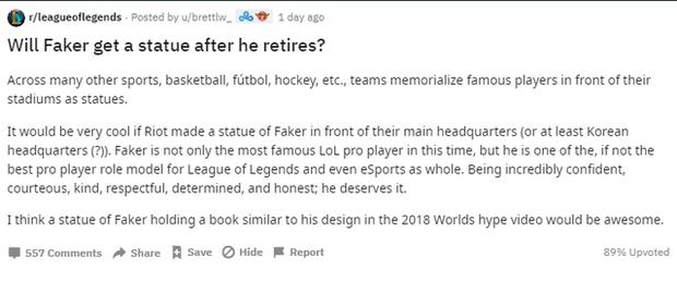 LMHT: Game thủ quốc tế cho rằng nên dựng tượng Faker giống như những huyền thoại thể thao truyền thống - Ảnh 2.