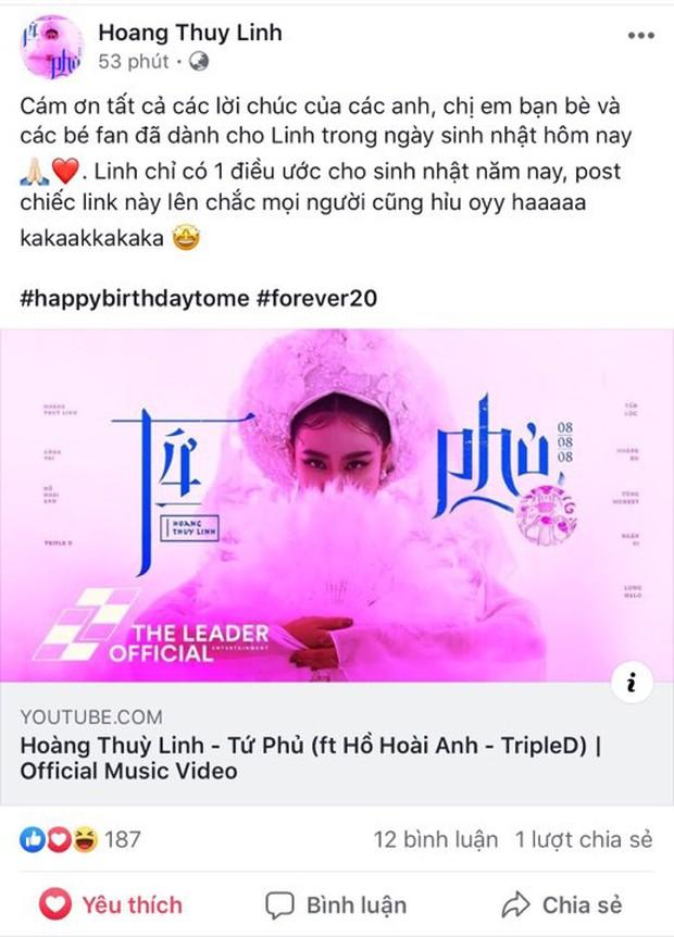 Sinh nhật rồi mà Tứ Phủ vẫn chưa top 1 trending, Hoàng Thùy Linh dịu dàng thả link nhắn nhủ đầy ẩn ý - Ảnh 1.