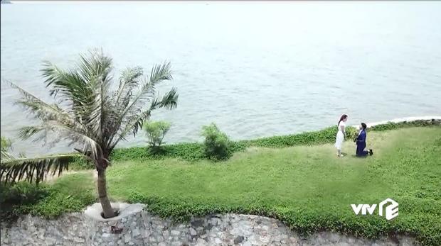 Đáng ra phải là cảnh lãng mạn nhất tập cuối Về Nhà Đi Con thì Vũ lại ném ô xả rác xuống biển, quỳ cả 2 chân cầu hôn Thư kém duyên - Ảnh 7.