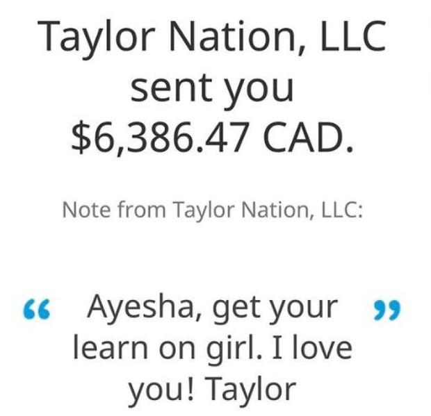 Fan than thở không có tiền đóng học phí, Taylor Swift rút hầu bao chuyển khoản luôn 150 triệu cho nữ sinh này - Ảnh 3.