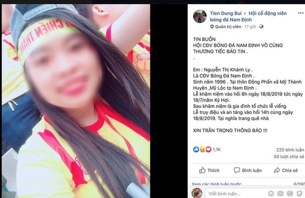 Nữ CĐV tử nạn trên đường đi cổ vũ CLB Nam Định - Ảnh 1.