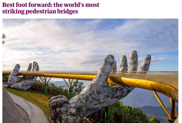 Đúng 1 năm trước, Cầu Vàng Đà Nẵng vừa xuất hiện đã trở thành hiện tượng làm dậy sóng báo chí và cả MXH quốc tế - Ảnh 3.