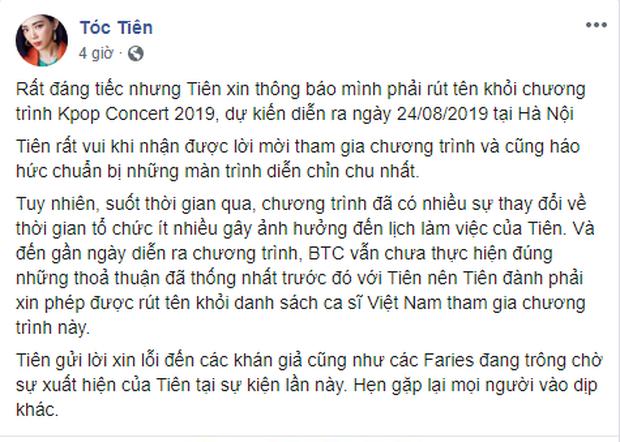 HOT: Trước 2 ngày diễn show, Tóc Tiên bất ngờ tuyên bố hủy biểu diễn tại concert có sự góp mặt của Ji Chang Wook - Ảnh 1.