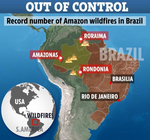 Loạt ảnh gây sốc về rừng Amazon bùng cháy với tốc độ kỷ lục: Khói có thể nhìn thấy từ ngoài không gian, các thành phố bị bao phủ mù mịt như tận thế - Ảnh 2.