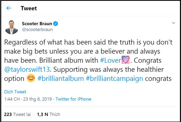 """Lật nhanh hơn bánh tráng chính là Scooter Braun: Chúc mừng Taylor Swift ra album mới nhưng vẫn vô tư chiếm đoạt """"gia tài"""" của cô - Ảnh 1."""