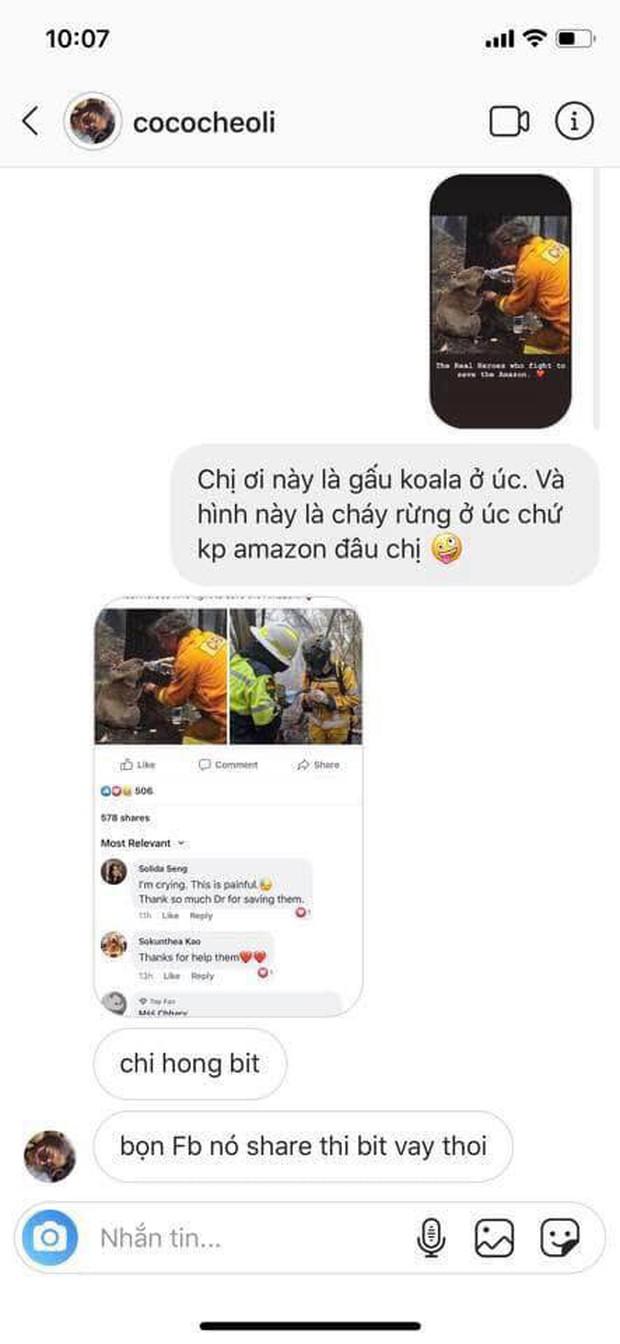 Sao thị phi liên tiếp chiếu thẳng girl xinh Cococheoli: Đăng story xót thương cháy rừng Amazon mà dùng lộn hình bên... Úc - Ảnh 3.