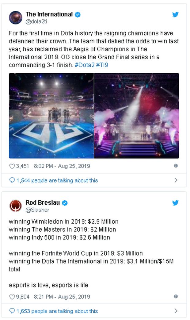 Nhà vô địch giải đấu Dota 2 kiếm được nhiều tiền hơn cả quán quân Wimbledon 2019 - Ảnh 2.