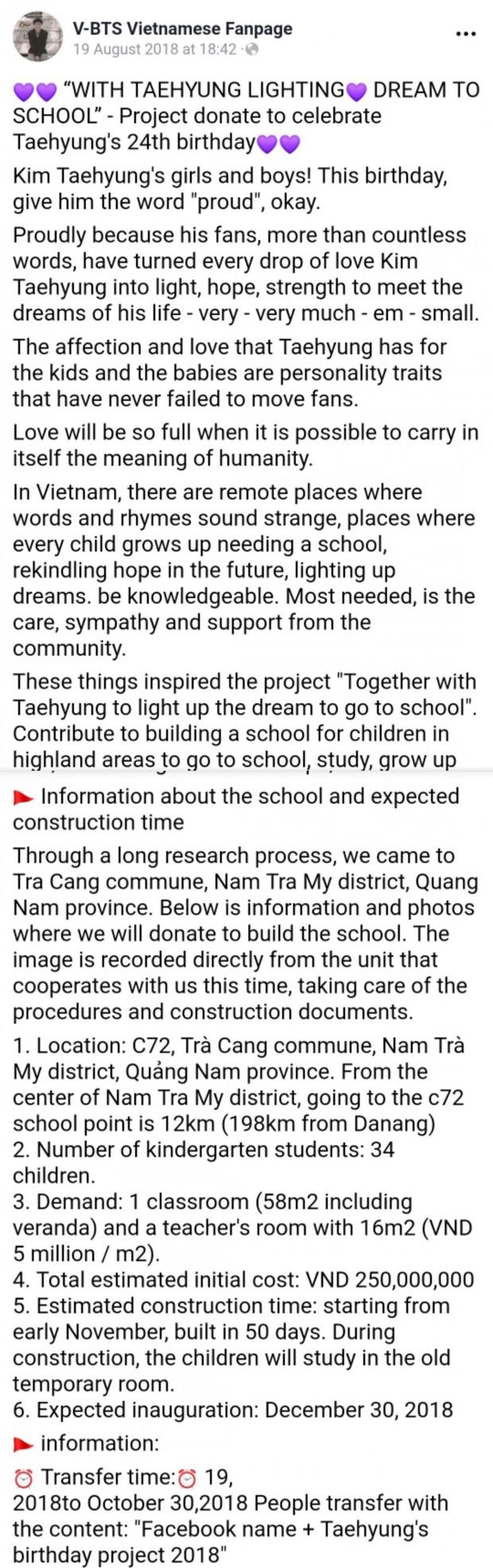 Fan Việt khiến bạn bè quốc tế chú ý khi gây quỹ 230 triệu xây hẳn trường học ở Điện Biên vì idol toàn cầu V (BTS) - Ảnh 2.