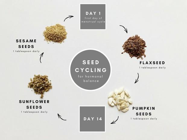 Seed Cycling: phương pháp loại bỏ sạch mụn khi ăn các loại hạt theo chu kì kinh nguyệt - Ảnh 1.
