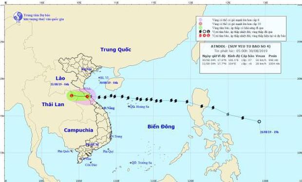 Bão số 4 đã suy yếu thành áp thấp nhiệt đới, miền Trung vẫn có mưa vừa, mưa to - Ảnh 1.