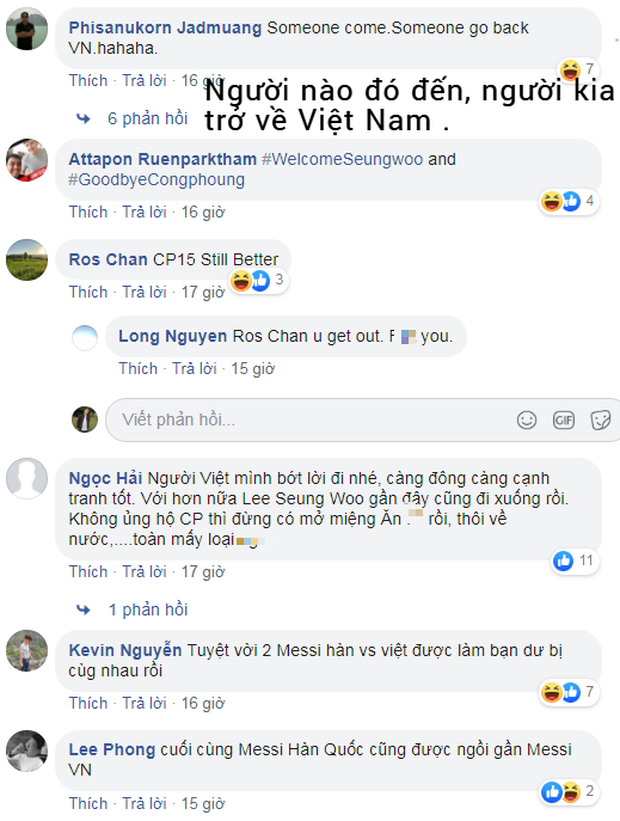 Fan Thái Lan tìm đến fanpage STVV để mỉa mai Công Phượng: Messi Hàn Quốc đến rồi, Messi Việt Nam về nước thôi - Ảnh 1.
