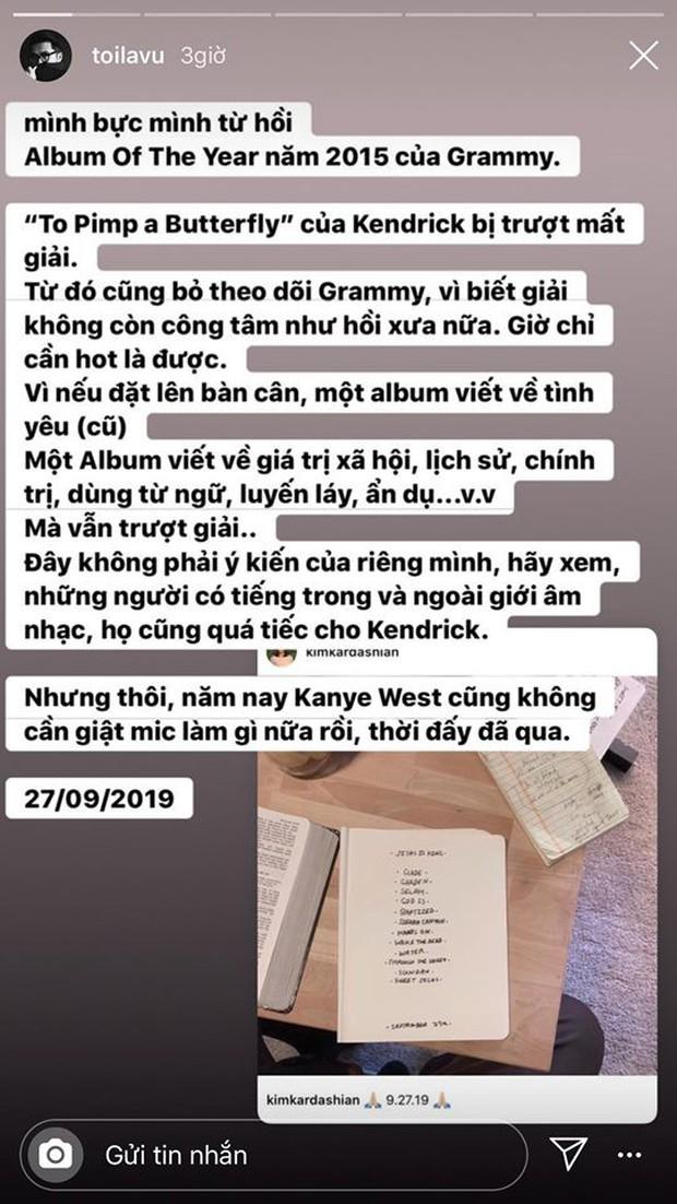 Hoàng tử indie Thái Vũ ám chỉ Taylor Swift không xứng đáng với giải Grammy, công khai ủng hộ màn giật mic của Kanye West - Ảnh 1.