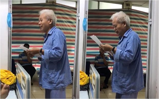 Clip: Cụ ông ung thư 74 tuổi đáng ngưỡng mộ với tinh thần lạc quan, trước khi phẫu thuật vẫn làm thơ động viên bạn cùng phòng bệnh - Ảnh 2.