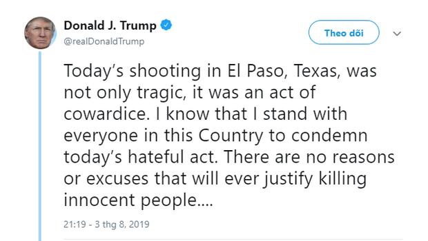 Một câu tweet nhưng 2 nội dung của Tổng thống Trump làm cả thế giới nhận ra nước Mỹ đang hứng chịu quá nhiều vụ xả súng - Ảnh 2.