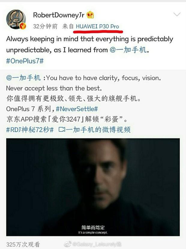Ngượng chín mặt với ông chú Iron Man: Dùng smartphone Huawei để hớn hở đăng post khen OnePlus? - Ảnh 2.