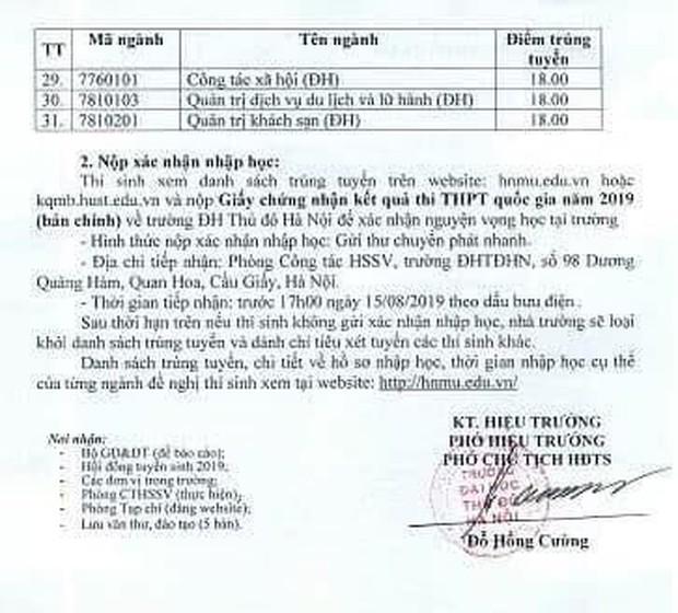 Điểm chuẩn Đại học Thủ đô Hà Nội năm 2019, điểm thấp nhất chỉ từ 18 điểm - Ảnh 2.