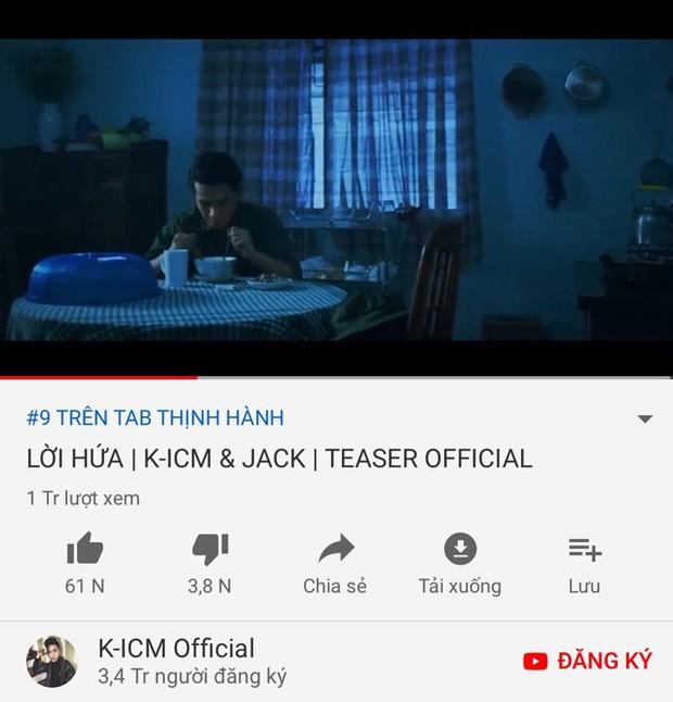 Teaser 12 giây không ai hiểu được gì vẫn cán mốc triệu view và lọt top trending,  quái vật YouTube nhạc Việt còn ai ngoài Jack và K-ICM? - Ảnh 1.