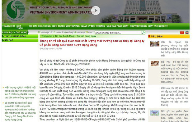Thông tin về thuỷ ngân ở Rạng Đông trên website Tổng Cục Môi trường không truy cập được - Ảnh 2.