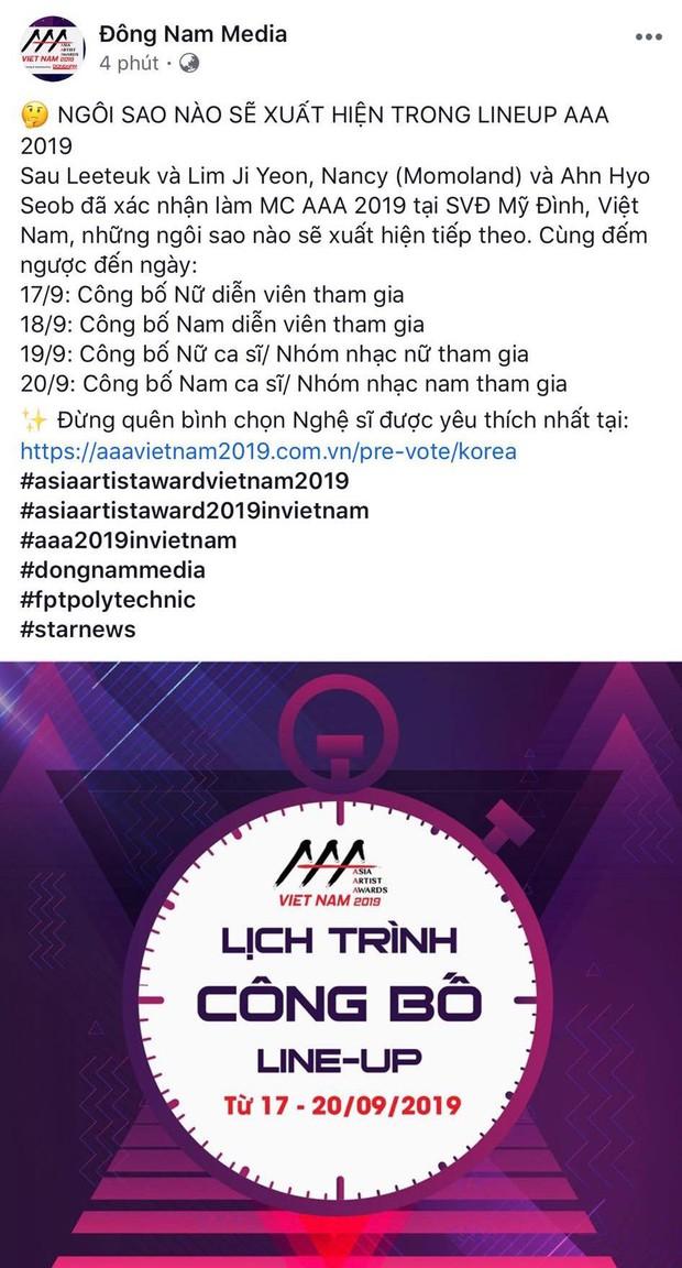 HOT: Đã có chi tiết lịch công bố line up chính thức của lễ trao giải khủng AAA 2019 tại Việt Nam, chia theo tiêu chí gì? - Ảnh 1.