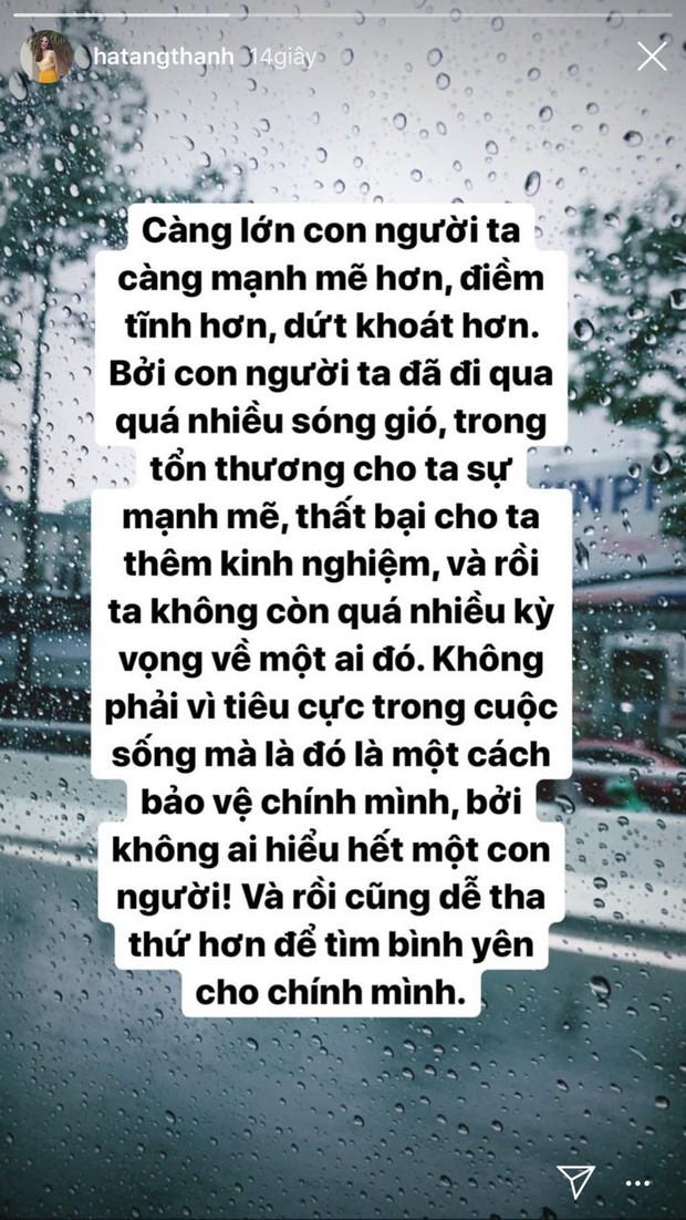"""Hà Tăng gây chú ý khi bất ngờ chia sẻ: Đi qua quá nhiều sóng gió, ta không còn quá kỳ vọng về một ai đó"""" - Ảnh 1."""